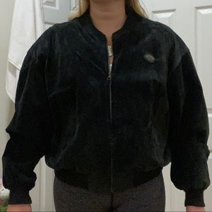 Italian suede jacket with shoulder pads